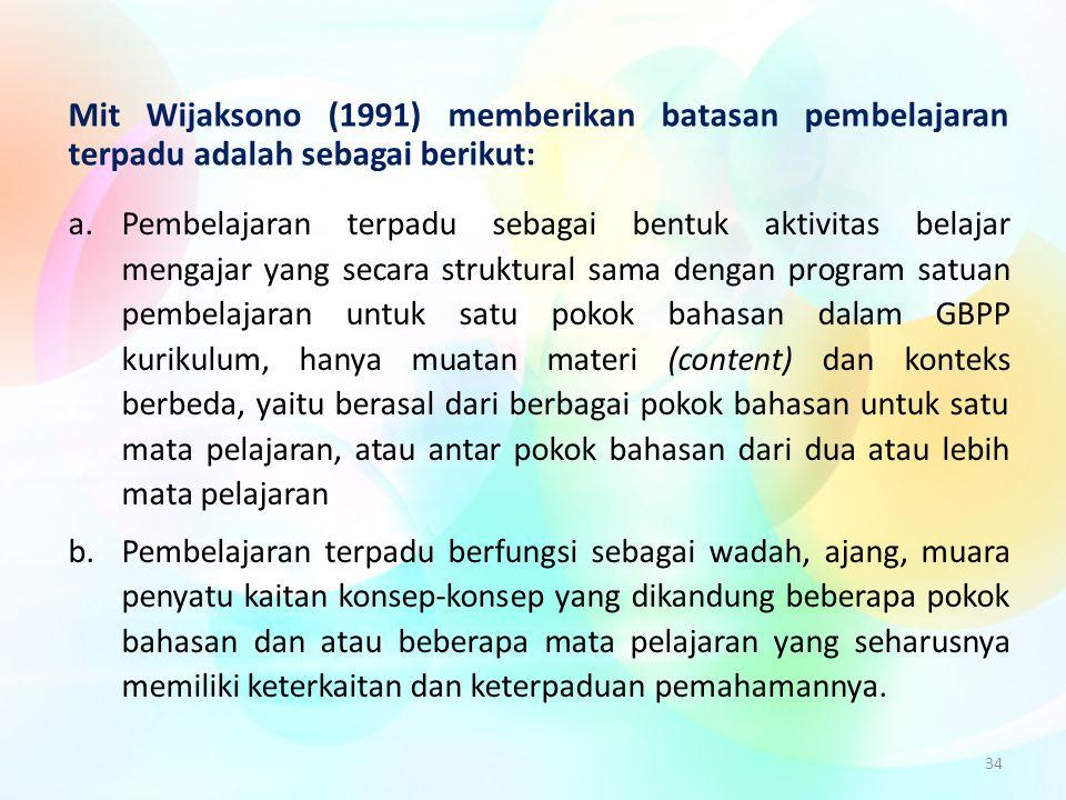 Mit Wijaksono (1991) memberikan batasan pembelajaran terpadu adalah sebagai berikut: