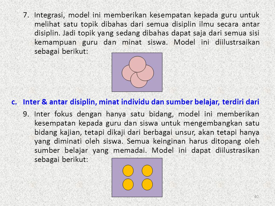 7. Integrasi, model ini memberikan kesempatan kepada guru untuk melihat satu topik dibahas dari semua disiplin ilmu secara antar disiplin. Jadi topik yang sedang dibahas dapat saja dari semua sisi kemampuan guru dan minat siswa. Model ini diilustrsaikan sebagai berikut: