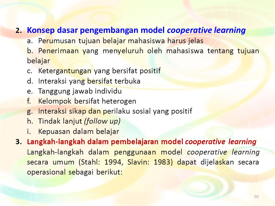 2. Konsep dasar pengembangan model cooperative learning