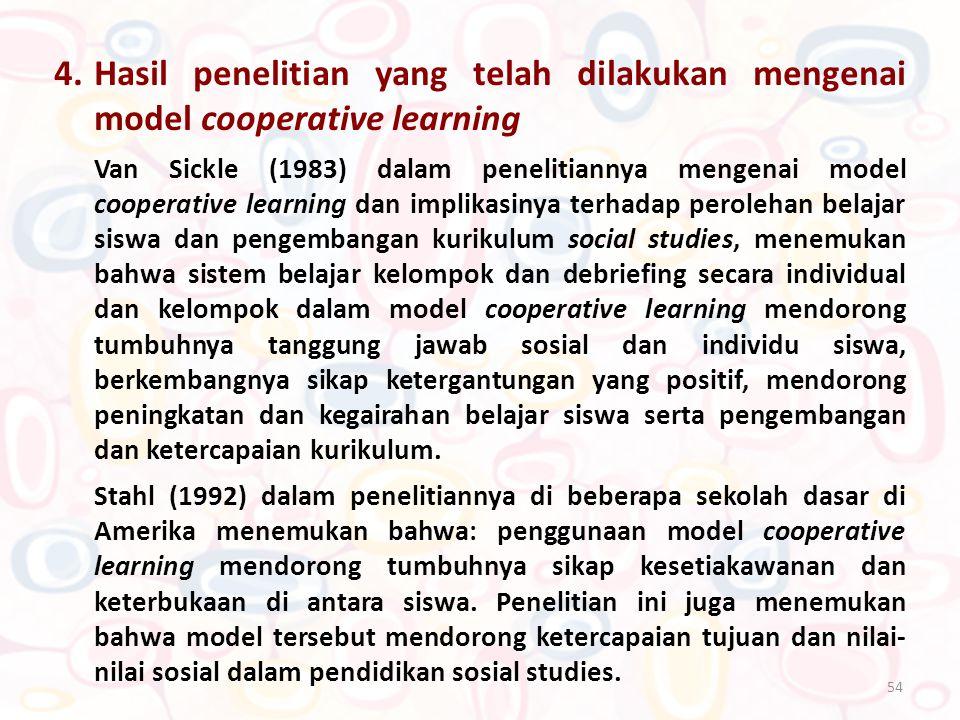 4. Hasil penelitian yang telah dilakukan mengenai model cooperative learning