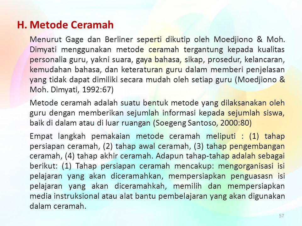 H. Metode Ceramah