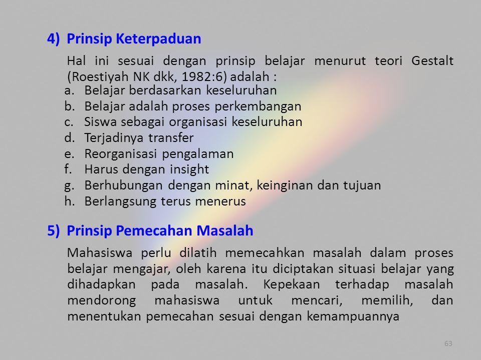 5) Prinsip Pemecahan Masalah