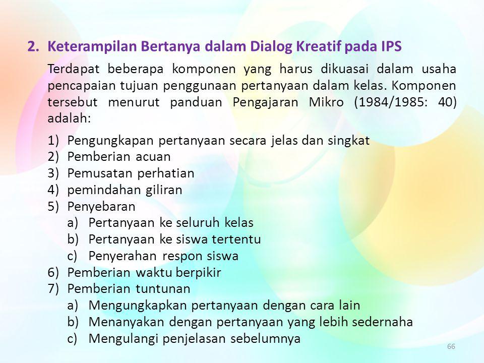 2. Keterampilan Bertanya dalam Dialog Kreatif pada IPS