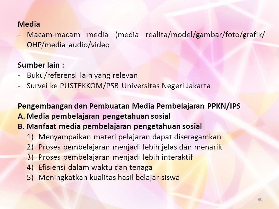 Media - Macam-macam media (media realita/model/gambar/foto/grafik/ OHP/media audio/video. Sumber lain :