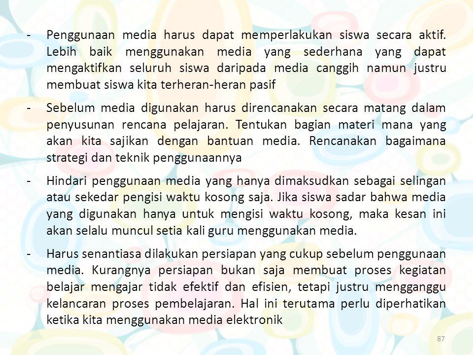 Penggunaan media harus dapat memperlakukan siswa secara aktif