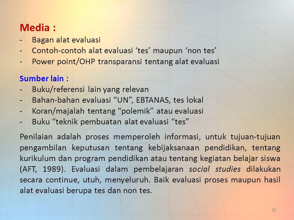 Media : Bagan alat evaluasi