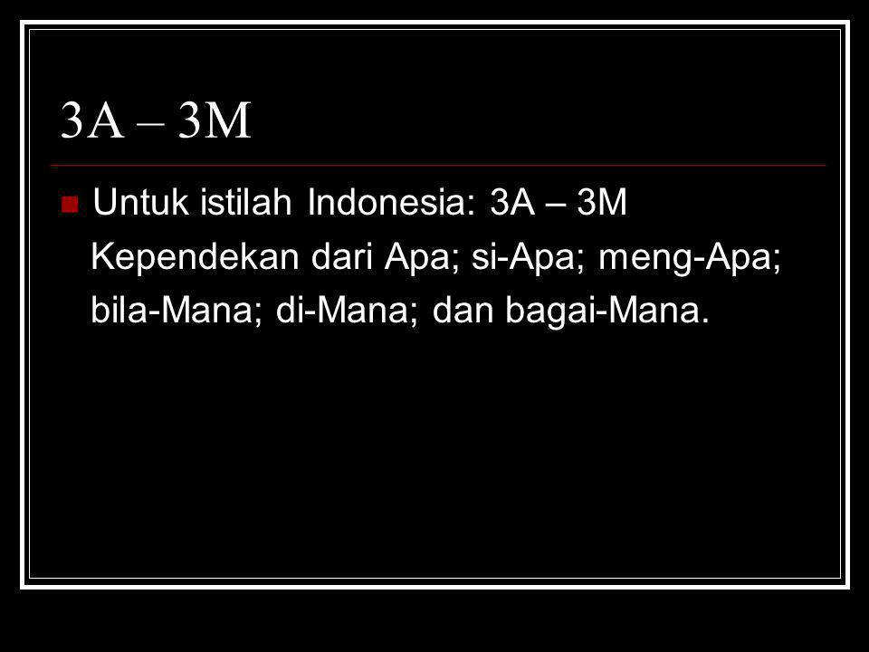 3A – 3M Untuk istilah Indonesia: 3A – 3M
