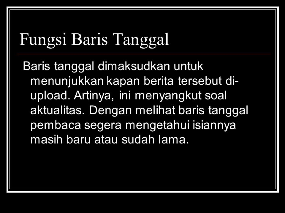 Fungsi Baris Tanggal