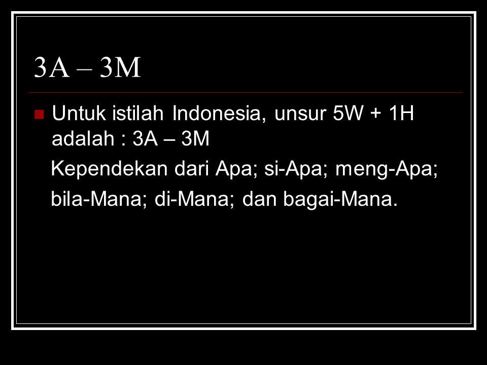 3A – 3M Untuk istilah Indonesia, unsur 5W + 1H adalah : 3A – 3M