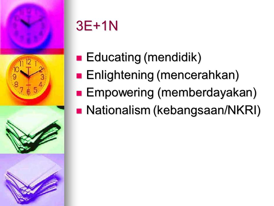 3E+1N Educating (mendidik) Enlightening (mencerahkan)