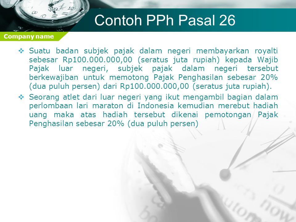 Contoh PPh Pasal 26