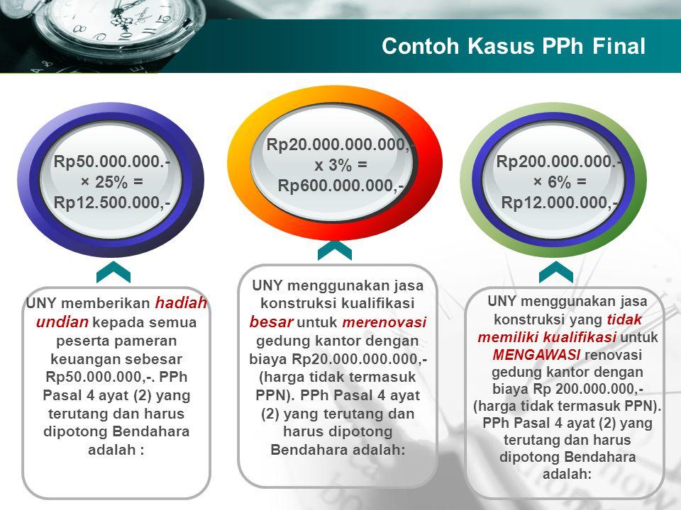 Contoh Kasus PPh Final Rp50.000.000.- × 25% = Rp12.500.000,-