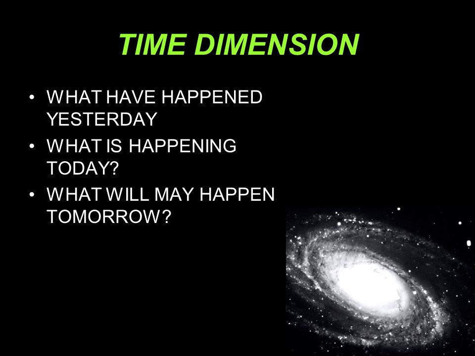 TIME DIMENSION WHAT HAVE HAPPENED YESTERDAY WHAT IS HAPPENING TODAY
