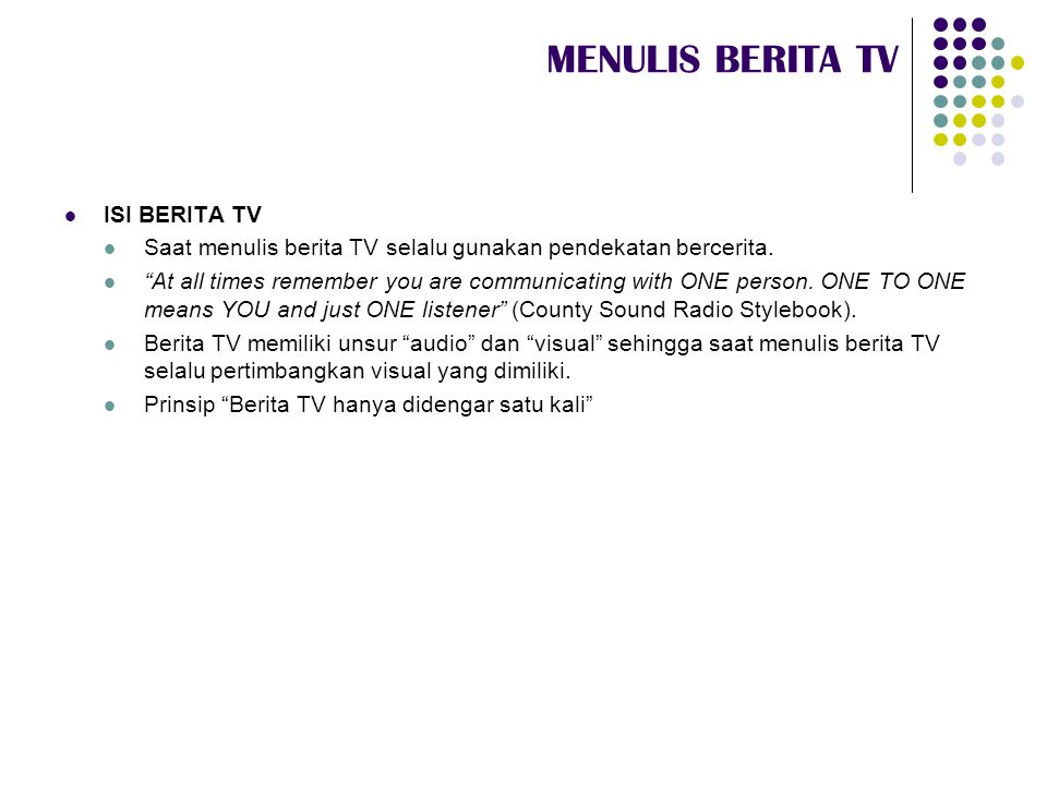 MENULIS BERITA TV ISI BERITA TV