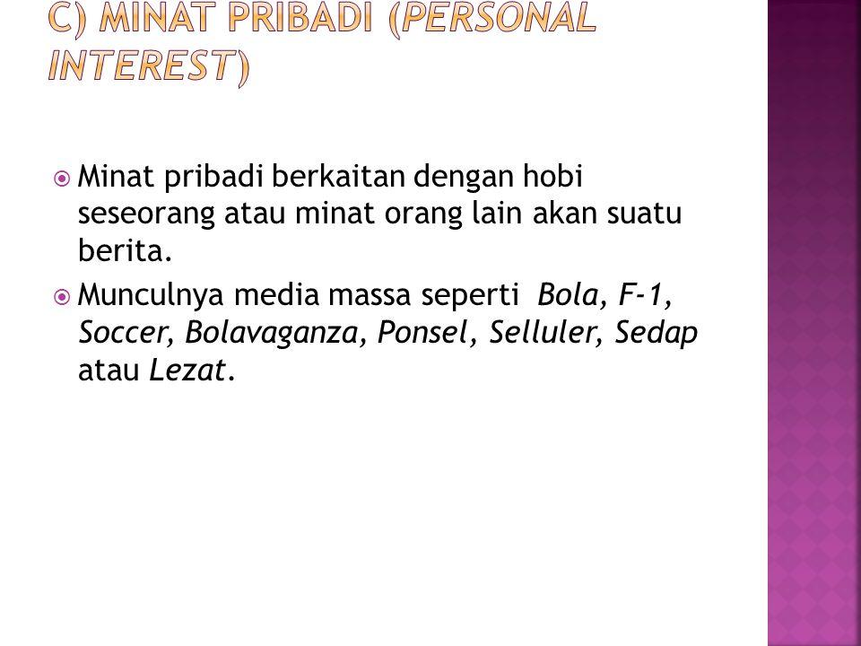 c) Minat pribadi (personal interest)