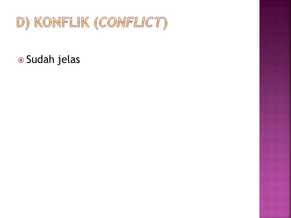 d) Konflik (conflict) Sudah jelas