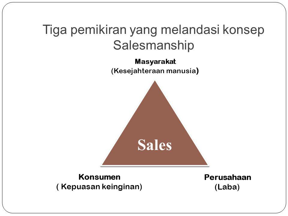 Tiga pemikiran yang melandasi konsep Salesmanship