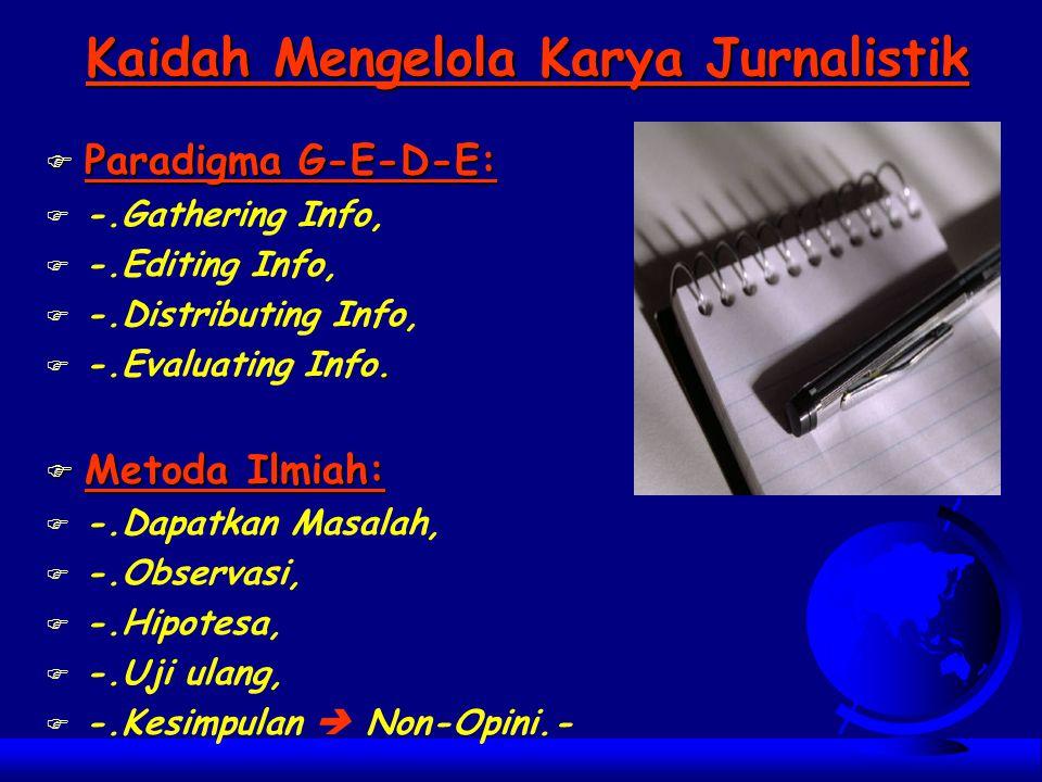 Kaidah Mengelola Karya Jurnalistik
