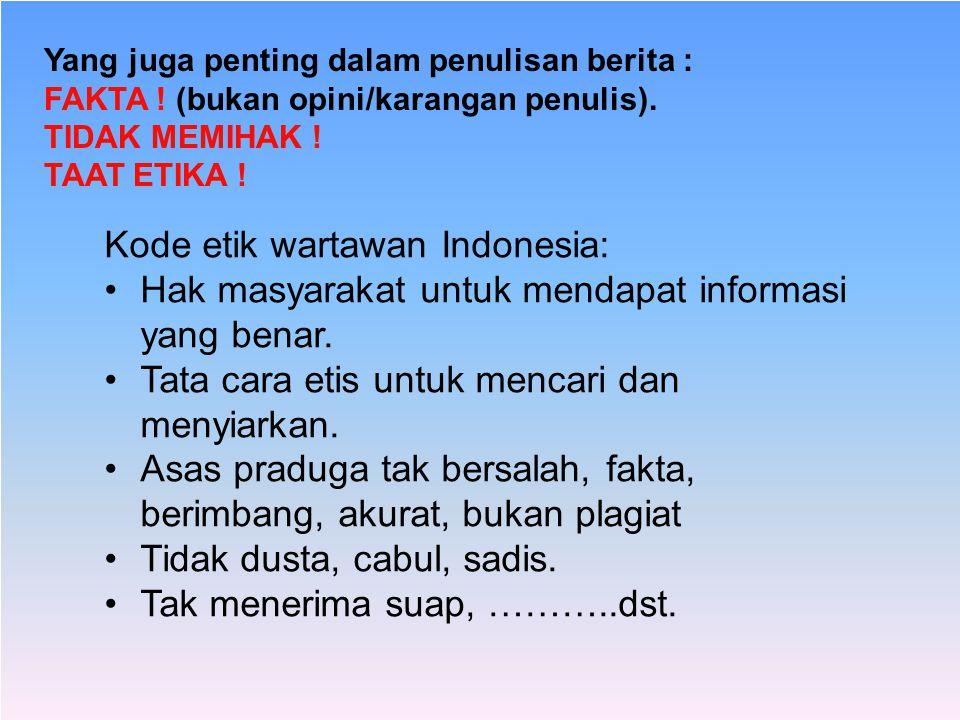 Kode etik wartawan Indonesia: