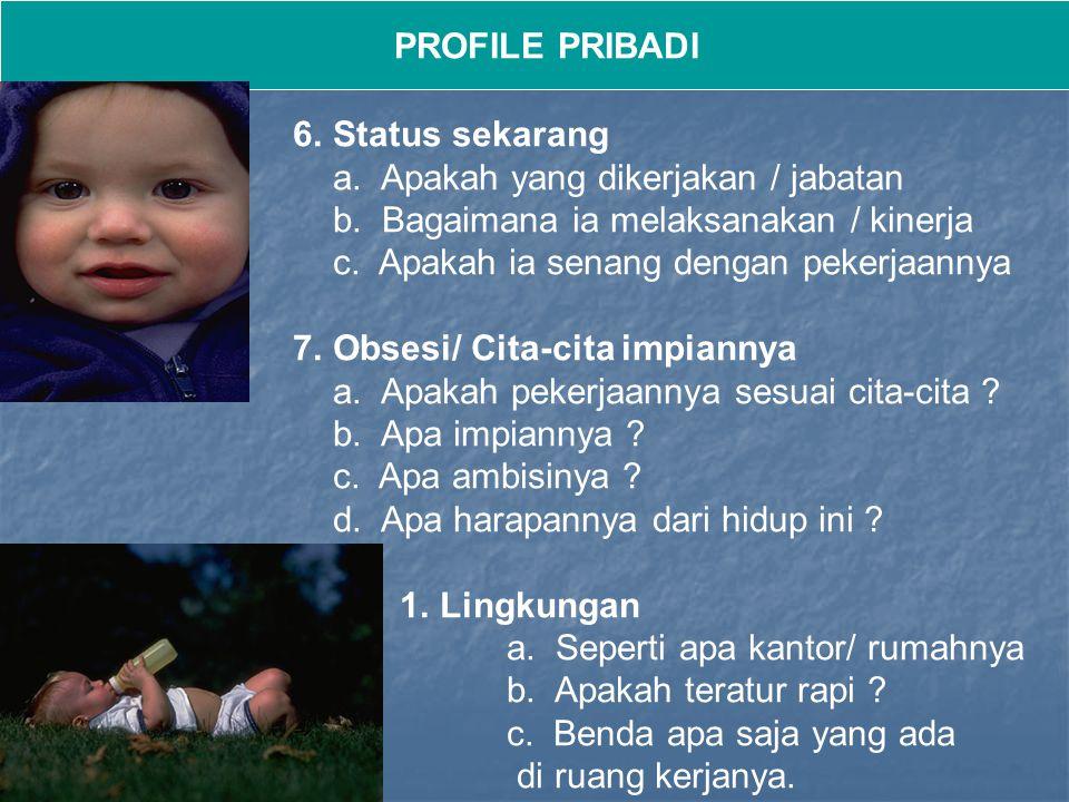 PROFILE PRIBADI Status sekarang. a. Apakah yang dikerjakan / jabatan. b. Bagaimana ia melaksanakan / kinerja.