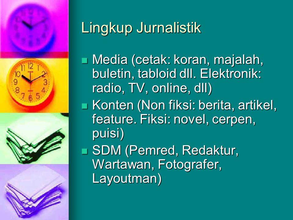 Lingkup Jurnalistik Media (cetak: koran, majalah, buletin, tabloid dll. Elektronik: radio, TV, online, dll)