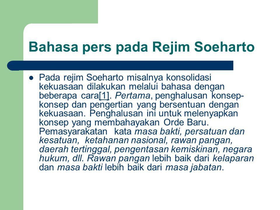 Bahasa pers pada Rejim Soeharto