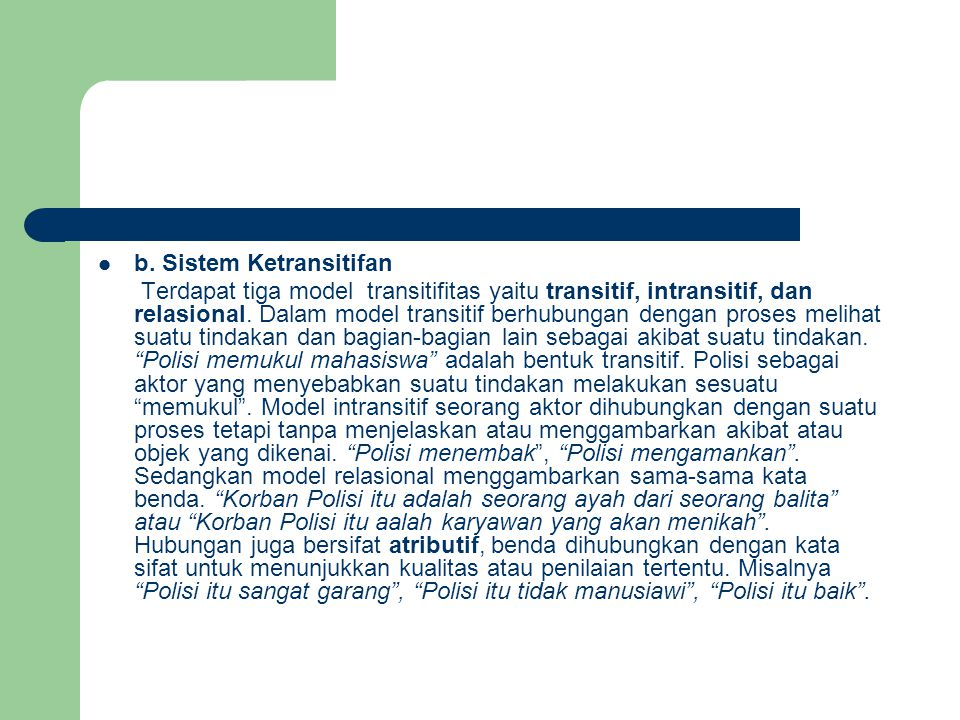 b. Sistem Ketransitifan