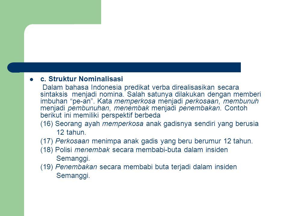 c. Struktur Nominalisasi