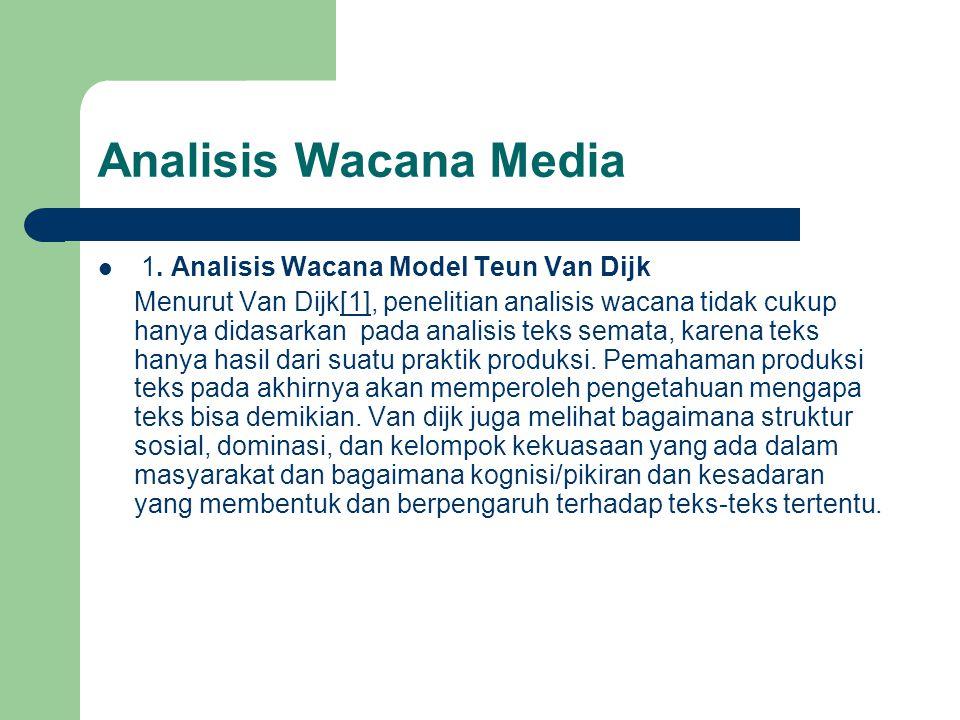 Analisis Wacana Media 1. Analisis Wacana Model Teun Van Dijk