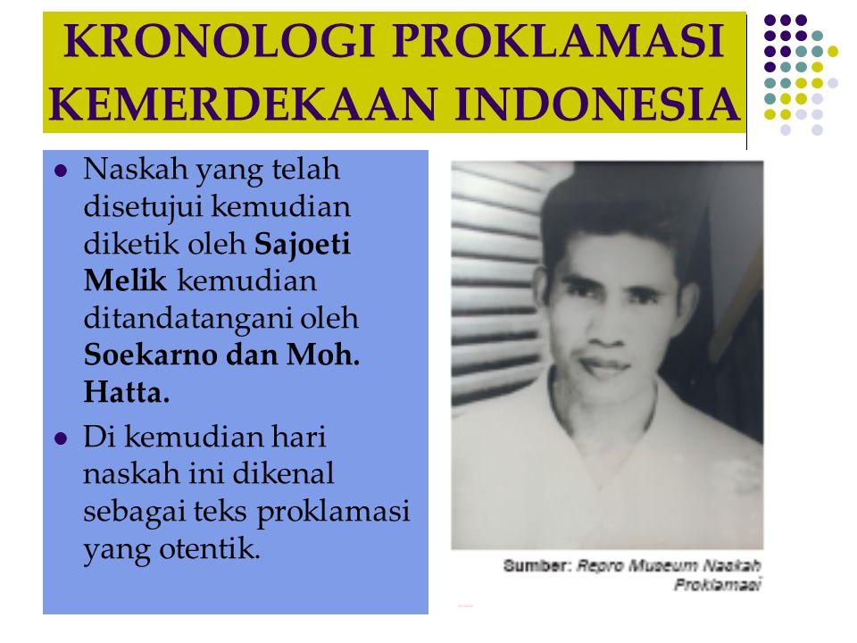 KRONOLOGI PROKLAMASI KEMERDEKAAN INDONESIA
