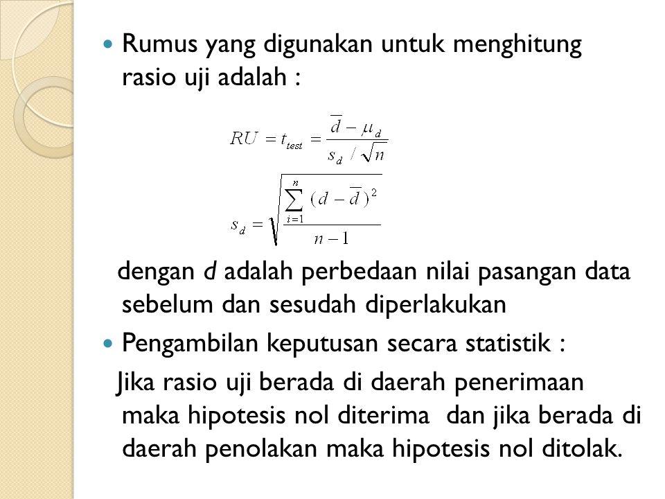 Rumus yang digunakan untuk menghitung rasio uji adalah :