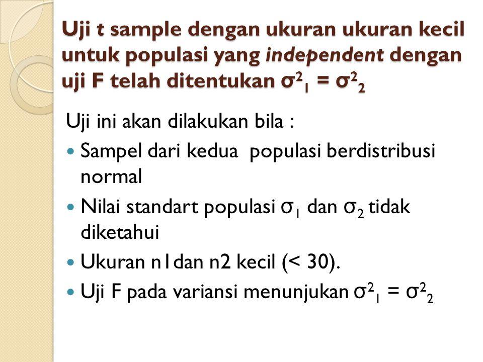 Uji t sample dengan ukuran ukuran kecil untuk populasi yang independent dengan uji F telah ditentukan σ21 = σ22
