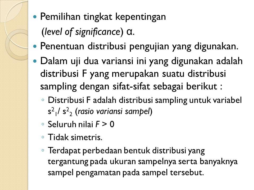 Pemilihan tingkat kepentingan (level of significance) α.