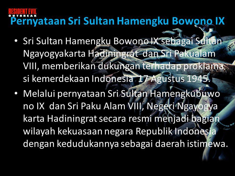 Pernyataan Sri Sultan Hamengku Bowono IX