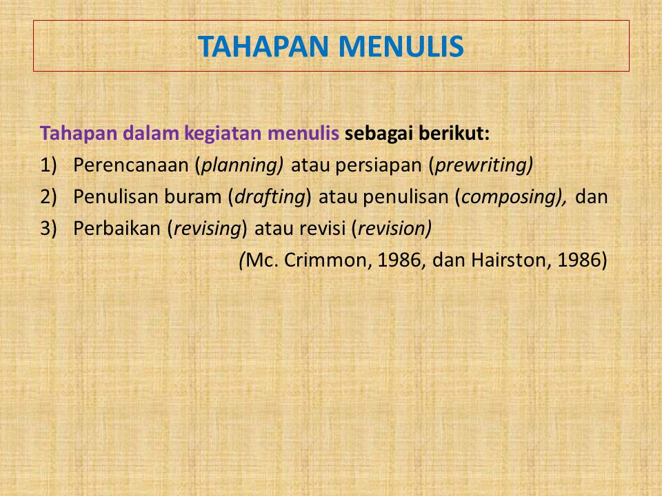 TAHAPAN MENULIS Tahapan dalam kegiatan menulis sebagai berikut: