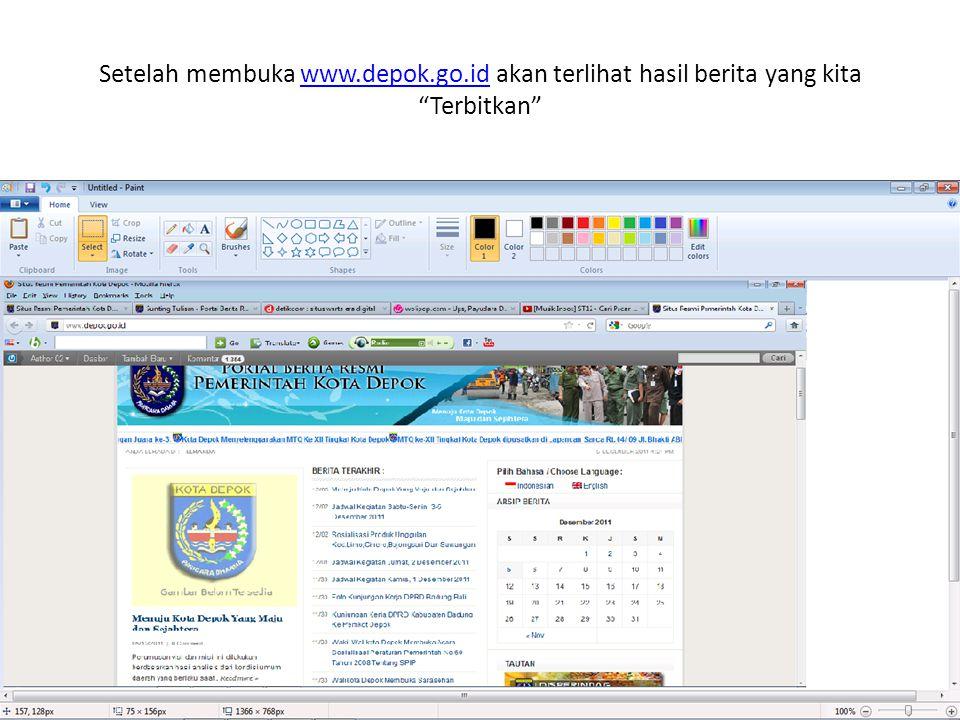 Setelah membuka www. depok. go