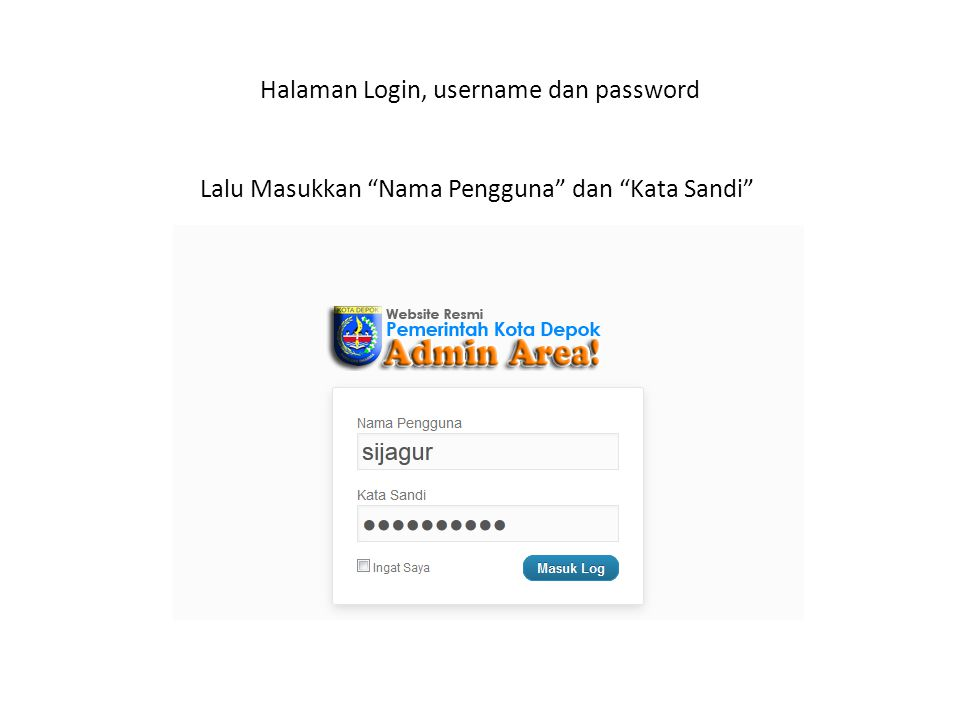 Halaman Login, username dan password