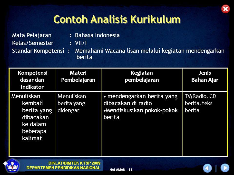 Contoh Analisis Kurikulum Kompetensi dasar dan Indikator