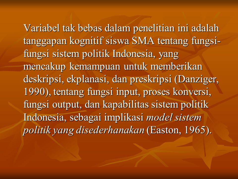 Variabel tak bebas dalam penelitian ini adalah tanggapan kognitif siswa SMA tentang fungsi-fungsi sistem politik Indonesia, yang mencakup kemampuan untuk memberikan deskripsi, ekplanasi, dan preskripsi (Danziger, 1990), tentang fungsi input, proses konversi, fungsi output, dan kapabilitas sistem politik Indonesia, sebagai implikasi model sistem politik yang disederhanakan (Easton, 1965).