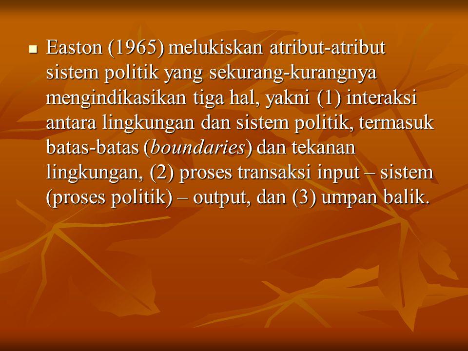 Easton (1965) melukiskan atribut-atribut sistem politik yang sekurang-kurangnya mengindikasikan tiga hal, yakni (1) interaksi antara lingkungan dan sistem politik, termasuk batas-batas (boundaries) dan tekanan lingkungan, (2) proses transaksi input – sistem (proses politik) – output, dan (3) umpan balik.