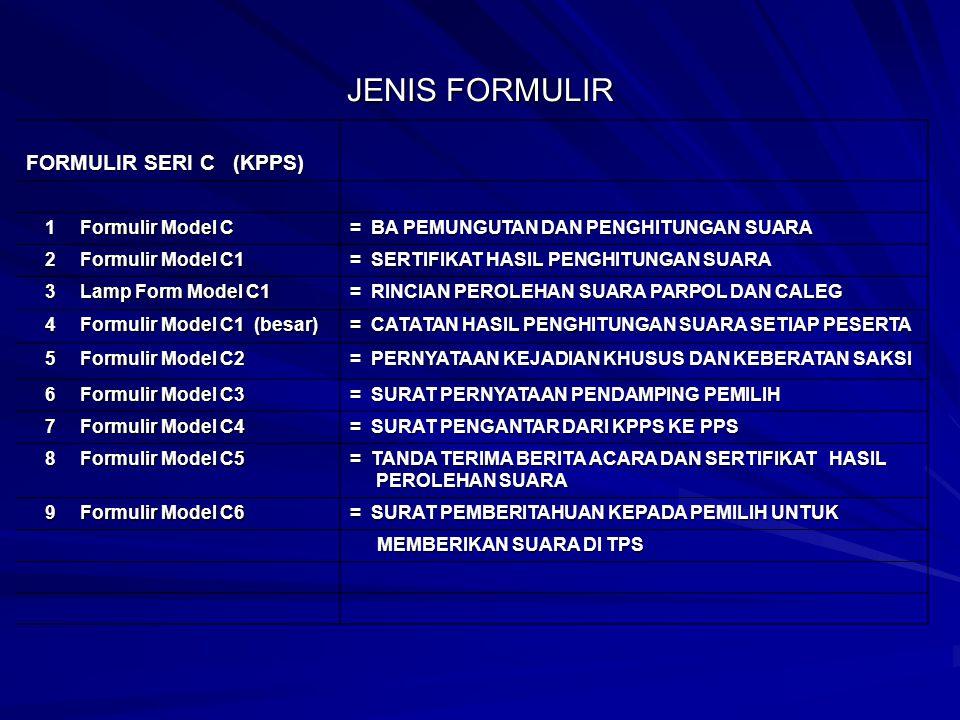 JENIS FORMULIR FORMULIR SERI C (KPPS) 1 Formulir Model C