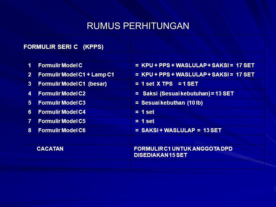 RUMUS PERHITUNGAN FORMULIR SERI C (KPPS) 1 Formulir Model C