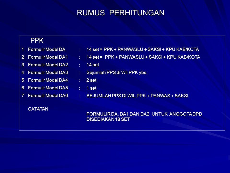 RUMUS PERHITUNGAN PPK 1 Formulir Model DA :