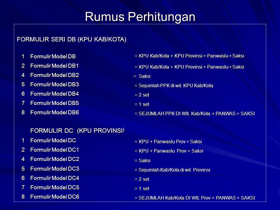 Rumus Perhitungan FORMULIR SERI DB (KPU KAB/KOTA)