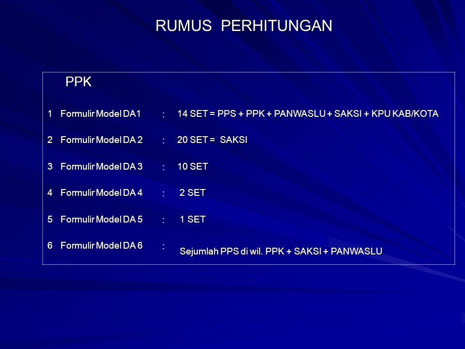 RUMUS PERHITUNGAN PPK 1 Formulir Model DA1 :
