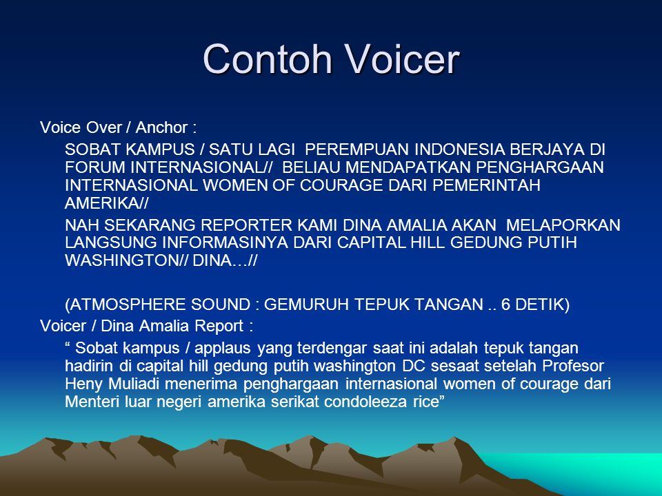 Contoh Voicer Voice Over / Anchor :