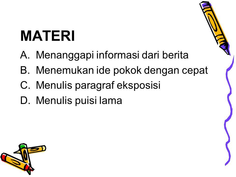 MATERI Menanggapi informasi dari berita