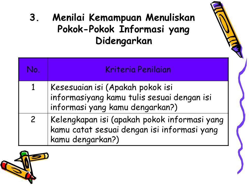 Menilai Kemampuan Menuliskan Pokok-Pokok Informasi yang Didengarkan