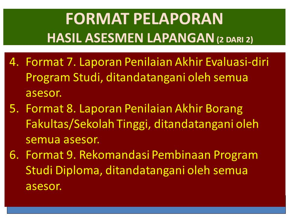 FORMAT PELAPORAN HASIL ASESMEN LAPANGAN (2 DARI 2)