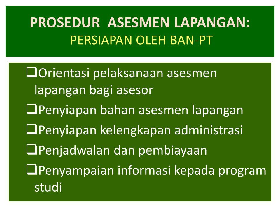 PROSEDUR ASESMEN LAPANGAN: PERSIAPAN OLEH BAN-PT